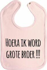 Merkloos / Sans marque Slabbetjes - slabber - baby - Hoera ik word grote broer !!! - drukknoop - stuks 1 - baby roze