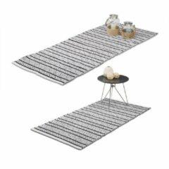 Witte Relaxdays - vloerkleed - loper tapijt - handgemaakt - 80x200 70x140 cm katoen
