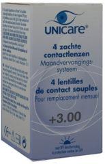 Unicare 1 maand Lens 4pack +3.00 - Contactlenzen