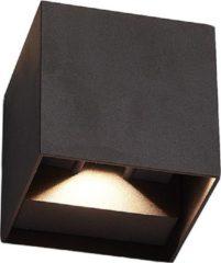 HOFTRONIC™ Buitenlamp / Wandlamp LED Zwart - Kubus tweezijdig oplichtend - IP65 - Cube Kansas - 6 Watt - Vierkante lamp geschikt voor binnen en buiten