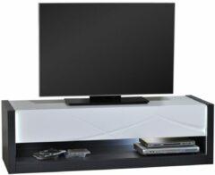 Bruine Ameubelment Tv Meubel Elypse 150 cm breed - Hoogglans Wit met Bruin eiken