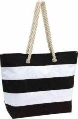 Merkloos / Sans marque Strandtas gestreept zwart/wit 47 cm - Strandartikelen beach bags/shoppers met klittenbandsluiting