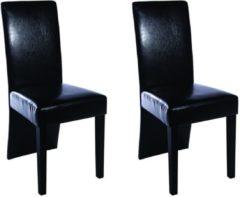Zwarte VidaXL Eetkamerstoelen met doorlopende rugleuning kunstleer 2 stuks zwart