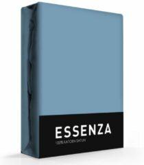 Essenza Satin hoeslaken - 100% katoen-satijn - 1-persoons (90x210 cm) - Blauw, Stone blue
