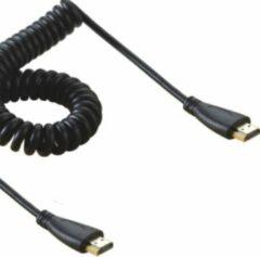 Coretek HDMI spiraalkabel - versie 1.4 (4K 30Hz) / zwart - 2 meter