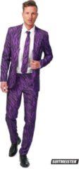 Opposuits Suitmeister Pimp Tiger - Mannen Kostuum - Paars - Feest - Maat S