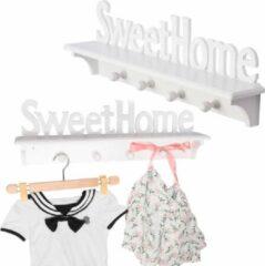 Decopatent® Wandkapstok hout - Sweet Home - 4 ophang haken & Legplank - Wandrek Kapstok voor Muur of Wand - Garderoberek - Wit
