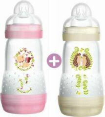 Roze MAM Anti-Colic Easy Start-fles - 260 ml - 0 tot 6 maanden - Flow speen 2 - verpakking van 2 - meisje