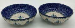 Bunzlau keramiek 2 x rond geribbeld bakje blauwe bloem