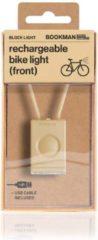 Bookman Block Fietsverlichting - LED Voorlicht - Oplaadbaar via USB - Compact Design - Beige