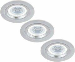 Zilveren HOFTRONIC™ Set van 3 stuks dimbare LED inbouwspots Austin 5 Watt spot