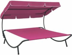 VidaXL Loungebed met luifel roze