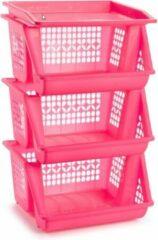 Forte Plastics 1x Roze opberg kratten/kasten/organizers 3 vakken 62 x 32 cm - Stapelbare manden/bakken om spullen in op te bergen