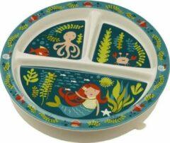 Blauwe SugarBooger Sugar booger bord met 3 vakken Mermaid