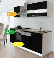 Respekta kitchen economy Respekta Küchenzeile KB220WS 220 cm Weiß - Schwarz