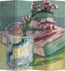 Blauwe Fine Asianliving Kamerscherm Scheidingswand B160xH180cm 4 Panelen Bloeiende Amandeltak in een Glas met een Boek 1888 van Gogh