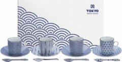 Blauwe Tokyo Design Studio Nippon Blue Espresso Serviesset- 4 personen - 12 stuks - Porselein
