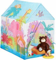Blauwe Relaxdays speeltent jungle - kinderspeeltent safari - speelhuis dieren - kleurrijke tent