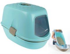 Blauwe Trixie Berto Top Kattenbak- Scheidingssysteem - Turquoise/Wit - 59 x 39 x 42 cm