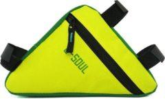 BikerVibes Fietstas frame | Groene tas met geel