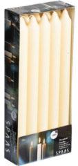 Merkloos / Sans marque 10x Ivoorwitte dinerkaarsen 24 cm 8 branduren - Geurloze kaarsen - Huishoudkaarsen/tafelkaarsen/kandelaarkaarsen