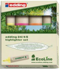 Edding Ecoline 24 Recycled tekstmarker Schuine punt 2 - 5 mm Kleurenassortiment 4 Stuks