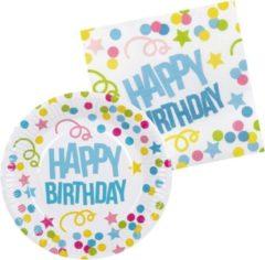 Boland Tafelset Happy Birthday Confetti Papier/karton 24-delig