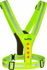 Reflecterend Sport Vest met Reflecterende Strepen en LED Verlichting - One Size – LED Safer - Elastische Banden - Hardloopvest Veilig Sporten - Zichtbaar in het Donker - Gele Veiligheidsvest - Swifty