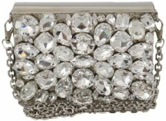 Zilveren Dolce & Gabbana Silver Metal Crystal Clutch Purse Cross Body BOX Bag