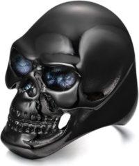 Zwarte Mendes Stalen herenring Skull Black-19mm