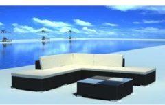 Zwarte Vidaxl loungeset voor buiten poly rattan zwart 15-delig