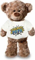 Bellatio Decorations Stoerste papa pluche teddybeer knuffel 24 cm met wit pop art t-shirt - Vaderdag - stoerste papa / cadeau knuffelbeer