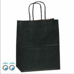 Kadoonline 50 papieren draagtassen zwart groot L 32x12x41