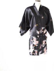 TA-HWA Korte Kimono met Kraanvogels Zwart Dames Nachtmode kimono L