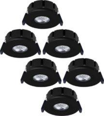 HOFTRONIC Set van 6 stuks LED inbouwspots Napels IP65 8 Watt 2700K dimbaar 360° kantelbaar zwart