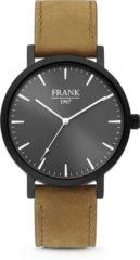 Frank 1967 7FW-0007 Stalen Herenhorloge met lederen band bruin en zwart Ø 42 mm