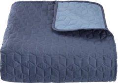 Lucy's Living Lucy's Living Luxe ROSA Beddensprei Ruitjes - 240 x 260 cm - blauw – tweepersoons – beddengoed – slaapkamer – spreien - polyester - katoen