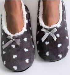 Sorprese cosy – pantoffels dames – hartjes grijs – maat 36-38 – sloffen dames
