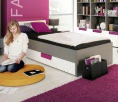 Bett 90 x 200 cm weiss/ violett/ grau FORTE MÖBEL Libelle