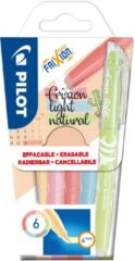 Pilot markeerstift Frixion Light Natural, blister van 6 stuks in geassorteerde kleuren
