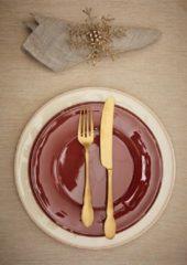Coté Table Constance ontbijt / dessert bord (4 stuks) - 23,5cm TOMETTE rood