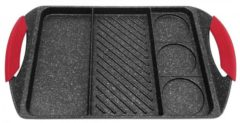 Zwarte Kinghoff Grillpan Kh-1420 - 42x27 Cm - Marble Coating - Inductie