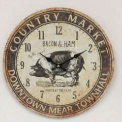 Bruine Saramax Wandklok Bacon & Ham Retro Vintage Design