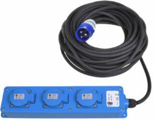 Blauwe ProPlus CEE 3 weg / Schuko stekkerdoos 10 meter