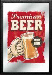 Rode Creatieve decoraties voor jou Spiegel - Premium Beer - Served Here - 32x22 cm - Wandspiegel