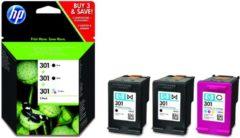 Gele HP 301 - Inktcartridge / Zwart / Kleur / 3-Pack