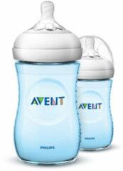 Blauwe Philips Avent Natural babyfles - SCF035/27 babyfles (1m+) voor langzame toevoer - 2x