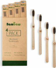 Bamboe Tandenborstel   Hard   4 Stuks   Houten Eco Tandenborstel   Geactiveerde Houtskool Tanden Bleken   Antibacteriële Tandenborstel   100% Biologisch Afbreekbare Handgreep   4 Stuks   Bambaw