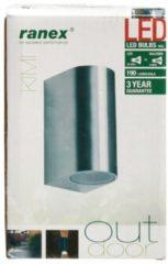 Grijze Ranex LED Wandlamp voor Buiten 3W Geborsteld Aluminium, Halfrond XL, GU10 Fitting