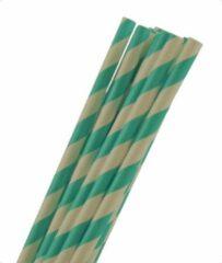Joyenco Papieren rietjes aqua gestreept - 50 stuks - duurzaam, 100% composteerbaar